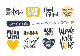 Collection of Hand Made inscriptions for labels or tags for handcrafted goods. Set of elegant lettering handwritten with various calligraphic fonts isolated on white background. Vector illustration. Fotomurales