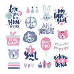 Bundle of childish lettering handwritten with elegant calligraphic fonts decorated with cute cartoon design elements. Collection of inscriptions and decorations for kids. Vector illustration.