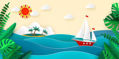 Sailboat in the sea Sun Clouds Tropical island Paper style Tropical leaves