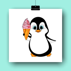 Cartoon penguin with ice cream cone isolated on white. Hand drawn vector illustration. Doodle art. Colorful yummy dessert and cute character. Element for poster, banner, menu, label, flyer, card