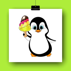 Cartoon penguin with ice cream isolated on white. Hand drawn vector illustration. Doodle art. Colorful yummy dessert and cute character. Element for poster, banner, menu, label, flyer, sticker, card
