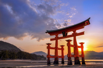 Great torii of Miyajima at sunset, near Hiroshima, Japan