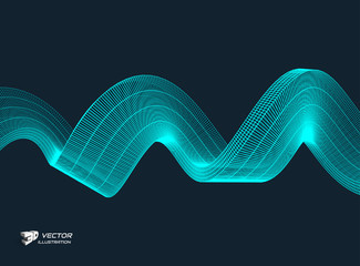Wavy background with motion effect. 3d technology style. Vector illustration.
