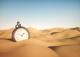 Pocket watch in the sand - Concept of time