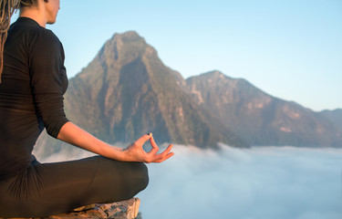 Fototapete - Serenity and yoga practicing,meditation at mountain range
