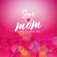 Happy Mothers Day Greeting card design with heart and Love You Mom typographic elements on red background. Vector Celebration Illustration template for banner, flyer, invitation, brochure, poster.