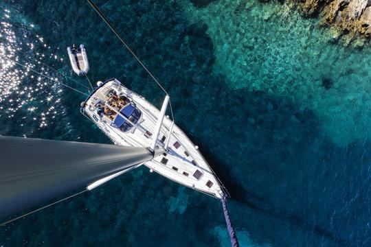 Aerial view of sailboat yacht charter on adriatic sea, croatia islands