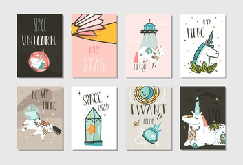 Hand drawn vector abstract graphic creative cartoon illustrations cards collection set template with astronaut unicorns with old school tattoo,planets and spaceship isolated on pastel background