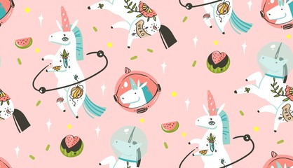 Hand drawn vector abstract graphic creative cartoon illustrations seamless pattern with cosmonaut unicorns with old school tattoo and watermelon in cosmos isolated on pastel pink background