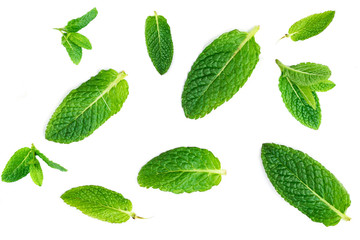 Fresh mint leaves pattern isolated on white background, top view.