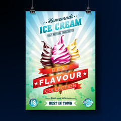 Ice cream Poster design with delicious dessert and labelled ribbon on fresh green background. Vector design template for promotional banner or flyer with vanilla, chocolate, punch.