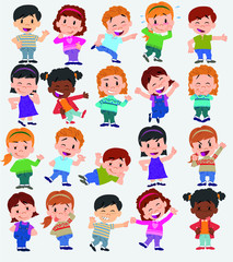 Cartoon character boys and girls. Set with different postures, attitudes and poses, always in positive attitude, doing different activities. Vector illustrations.