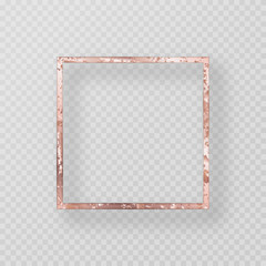 Vintage frame with a pink gold texture. Colorful border with grunge metal texture. Vector illustration with shadow on transparent backdrop