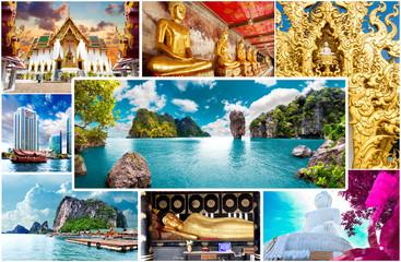 Fondo  de vacaciones exóticas.Tailandia y playas de Phuket. Paisaje pintoresco y puntos de interés