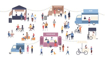 Wall Mural - Summer outdoor street food festival. People walking between vans or caterers, buying meals, eating and drinking, taking selfie, talking to each other. Flat cartoon colorful vector illustration.