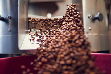 Image of falling coffee beans from roaster
