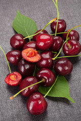 Group of delicious red cherries