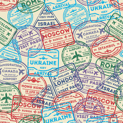 Seamless pattern with visa rubber stamps on passport. Barcelona, France, Moscow, Hong Kong, Canada, Dublin, USA, Istanbul, Rome, Ukraine, London immigration signs, airport travel vector illustration.