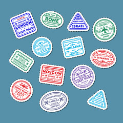 Visa rubber stamps on passport isolated set. Barcelona, France, Moscow, Hong Kong, Canada, Dublin, USA, Istanbul, Rome, Ukraine, London immigration signs, airport travel symbols vector illustration.