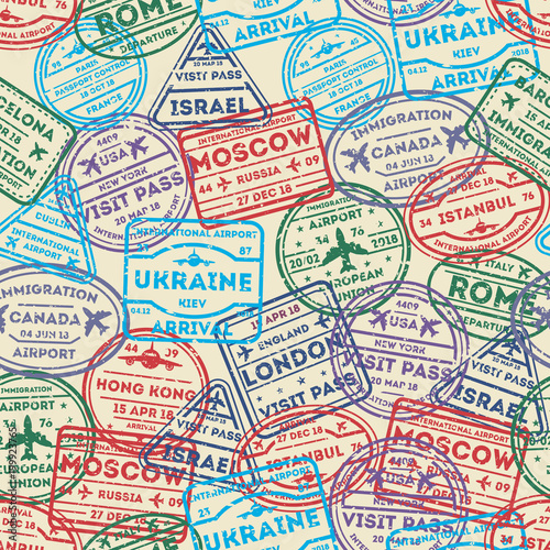 Seamless pattern with visa rubber stamps on passport