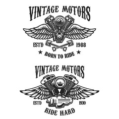 Set of emblems with vintage winged motors. Design element for logo, label, emblem, sign, poster, t shirt.