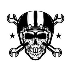 Skull in racer helmet with crossed wrenches. Design element for logo, label, emblem, sign.