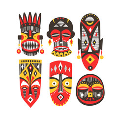 Vector collection of hand-drawn African masks with textures.