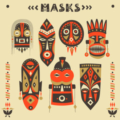 Vector collection of hand-drawn African masks, totems, amulets.