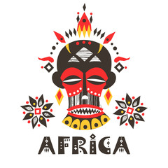 """Hand-drawn poster with the African mask and lettering """"Africa""""."""