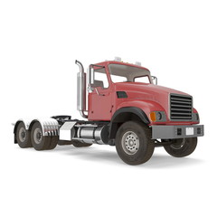 Red truck isolated on white. 3D illustration