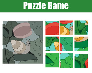 Puzzle for toddlers. Complete the picture. mosaic game with snail