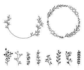 Set of doodle hand drawn vector design elements. Wreath, wild floral elements.