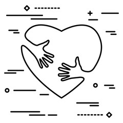 Linear art silhouette of heart with hands, hugging heart, concept of love and care, happy valentine day
