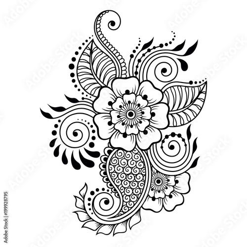 henna tattoo flower template and border mehndi style set of