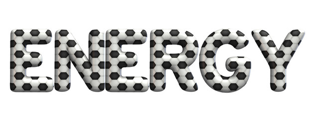 Energy word made from a football soccer ball texture. 3D Rendering