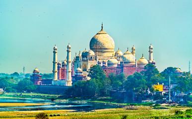 View of Taj Mahal from Agra Fort. Uttar Pradesh, India