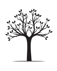 Black naked Tree with Roots. Vector Illustration and graphic element.