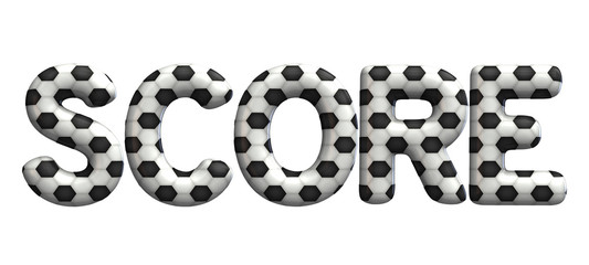 Score word made from a football soccer ball texture. 3D Rendering