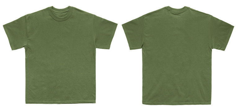 Blank T Shirt color military green template front and back view on white background