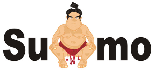 Sumo, wrestler, sportsman, sport, Japan, man, fat, evil, angry, sit, naked, cartoon, illustration, fight, word