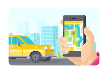 Online taxi ordering phone application concept in flat style