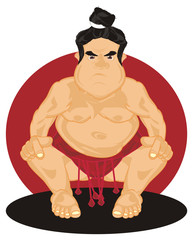 Sumo, wrestler, sportsman, sport, Japan, man, fat, evil, angry, sit, naked, cartoon, illustration, fight, red, black,