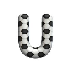 Soccer ball texture capital letter U. 3D Rendering