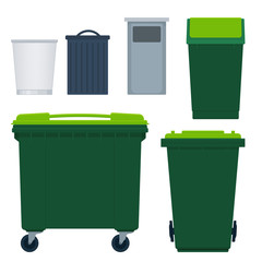 set of garbage bins and a container on wheels