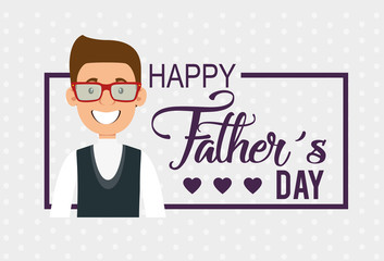 best father happy avatar character vector illustration design