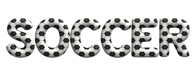 Soccer word made from a football soccer ball texture. 3D Rendering