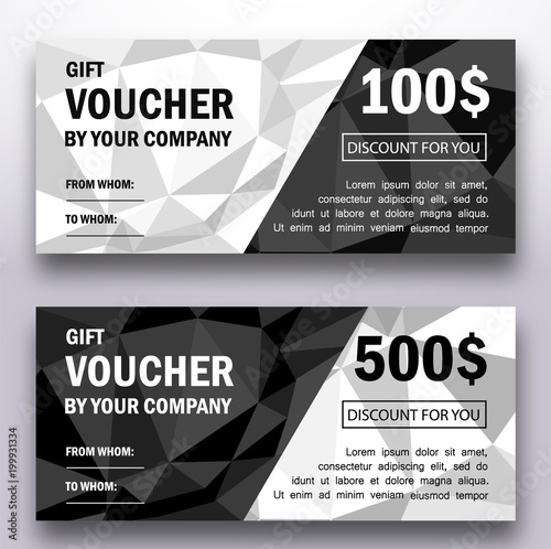 Template of gift voucher with triangle geometric patterns. Modern ...