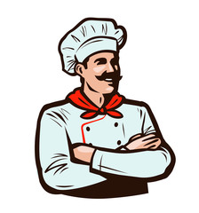 Cheerful chef in cook hat. Cooking, food concept. Cartoon vector illustration
