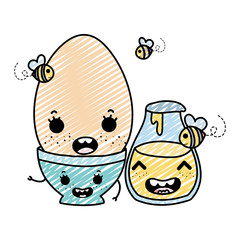 doodle kawaii happy egg with bowl and honney jar