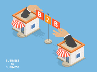 B2B flat isometric vector. Concept of situation where one business makes commercial transaction with another.
